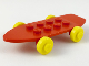 Part No: 2146c01  Name: Fabuland Skateboard - Complete Assembly with Yellow Wheels and Red Axles