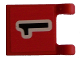 Part No: 2335pb038  Name: Flag 2 x 2 Square with Black Number 1 on Red Background Pattern (Sticker) - Soccer