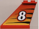 Part No: 2340pb007  Name: Tail 4 x 1 x 3 with White Number 8 on Tiger Stripes Background Pattern on Left Side (Sticker) - Set 8229