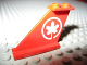 Part No: 2340pb030  Name: Tail 4 x 1 x 3 with White Maple Leaf Air Canada Logo Pattern on Both Sides (611-2)