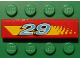 Part No: 2431pb040  Name: Tile 1 x 4 with '29' and Yellow Stripe (Dot Fade on Right) Pattern (Sticker) - Set 8829