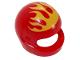 Part No: 2446pb41  Name: Minifigure, Headgear Helmet Standard with Flames Yellow Pattern