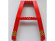 Part No: 2635pb06  Name: Red Support Crane Stand Double with Black and Yellow Danger Stripes and '5 M' with Arrows Pattern (Stickers) – Set 7994