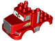 Part No: 29359pb01  Name: Duplo Car Body Truck 3 x 4 Flatbed with Cars 'MACK' Pattern