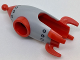 Part No: 29580pb01  Name: Minifigure, Headgear Head Cover, Costume Rocket with Gray Plating and Silver Rivets Pattern