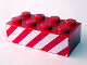 Part No: 3001pb024  Name: Brick 2 x 4 with Red and White Danger Stripes Pattern on Two Sides
