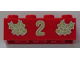 Part No: 3001pb043  Name: Brick 2 x 4 with Gold Holly and  '2' Pattern