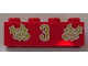 Part No: 3001pb044  Name: Brick 2 x 4 with Gold Holly and  '3' Pattern