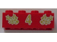 Part No: 3001pb045  Name: Brick 2 x 4 with Gold Holly and  '4' Pattern