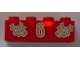 Part No: 3001pb047  Name: Brick 2 x 4 with Gold Holly and  '6' Pattern
