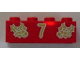 Part No: 3001pb048  Name: Brick 2 x 4 with Gold Holly and  '7' Pattern