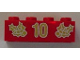 Part No: 3001pb051  Name: Brick 2 x 4 with Gold Holly and '10' Pattern