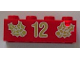 Part No: 3001pb053  Name: Brick 2 x 4 with Gold Holly and '12' Pattern