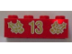 Part No: 3001pb054  Name: Brick 2 x 4 with Gold Holly and '13' Pattern
