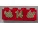 Part No: 3001pb055  Name: Brick 2 x 4 with Gold Holly and '14' Pattern
