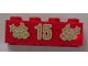 Part No: 3001pb056  Name: Brick 2 x 4 with Gold Holly and '15' Pattern