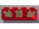 Part No: 3001pb057  Name: Brick 2 x 4 with Gold Holly and '16' Pattern