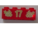 Part No: 3001pb058  Name: Brick 2 x 4 with Gold Holly and '17' Pattern