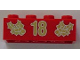 Part No: 3001pb059  Name: Brick 2 x 4 with Gold Holly and '18' Pattern