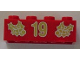 Part No: 3001pb060  Name: Brick 2 x 4 with Gold Holly and '19' Pattern