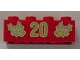Part No: 3001pb061  Name: Brick 2 x 4 with Gold Holly and '20' Pattern