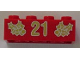 Part No: 3001pb062  Name: Brick 2 x 4 with Gold Holly and '21' Pattern
