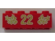 Part No: 3001pb063  Name: Brick 2 x 4 with Gold Holly and '22' Pattern