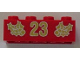 Part No: 3001pb064  Name: Brick 2 x 4 with Gold Holly and '23' Pattern
