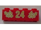 Part No: 3001pb065  Name: Brick 2 x 4 with Gold Holly and '24' Pattern