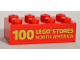 Part No: 3001pb100  Name: Brick 2 x 4 with '100 LEGO STORES NORTH AMERICA' Pattern
