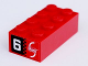 Part No: 3001pb103  Name: Brick 2 x 4 with 'Mobile Phone' on Red Background and '6' on Black Background Pattern on Both Ends (Stickers) - Set 8130
