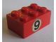 Part No: 3002oldpb02  Name: Brick 2 x 3 with Black '9' in White Circle Pattern (Sticker) - Set 673