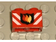 Part No: 3004pb004  Name: Brick 1 x 2 with Fire Logo Badge and White Stripes Pattern