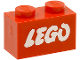 Part No: 3004pb052  Name: Brick 1 x 2 with Lego Logo Open O Style White without Black Outline Pattern (Samsonite)