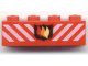 Part No: 3010pb009  Name: Brick 1 x 4 with Fire Logo Badge and White Diagonal Stripes Pattern