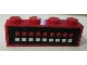 Part No: 3010pb041  Name: Brick 1 x 4 with 9 Red Dots, 9 White Squares on Black Pattern (Sticker)