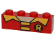 Part No: 3010pb206  Name: Brick 1 x 4 with Collar and Batman 'R' Symbol Pattern