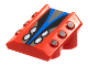 Part No: 30603pb09  Name: Brick, Modified 2 x 2 No Studs, Sloped with 3 Side Pistons Raised and Silver/Black/Blue Pattern