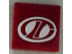 Part No: 3068bpb0657  Name: Tile 2 x 2 with Groove with Red Stylized 'LT' on White Oval Racing Logo Pattern (Sticker) - Set 8422