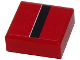 Part No: 3070bpb084  Name: Tile 1 x 1 with Groove with Black Stripe with White Edge on Red Background Pattern (Sticker) - Set 8147