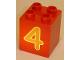 Part No: 31110pb024  Name: Duplo, Brick 2 x 2 x 2 with Number 4 Orange Pattern