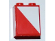 Part No: 3245bpb24R  Name: Brick 1 x 2 x 2 with Inside Axle Holder with Red and White Diagonal Halves Pattern Model Right Side (Sticker) - Set 3182