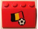 Part No: 3297pb002  Name: Slope 33 3 x 4 with Flag of Belgium and Soccer Ball on Red Background Pattern (Sticker) - Set 3407