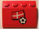 Part No: 3297pb003  Name: Slope 33 3 x 4 with Flag of Denmark and Soccer Ball on Red Background Pattern (Sticker) - Set 3407