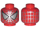 Part No: 3626bpx125  Name: Minifig, Head Alien with Spider-Man Silver Web Pattern - Blocked Open Stud