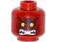 Part No: 3626cpb1130  Name: Minifigure, Head Alien with Yellow Eyes, Dark Red Wrinkles, Bared Teeth Pattern - Hollow Stud