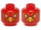 Part No: 3626cpb1146  Name: Minifig, Head Dual Sided Alien Chima Phoenix Orange Eye Circles and Feathers, Yellow Eyes, Beak, Surprised / Stern Pattern (Flinx) - Stud Recessed