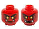 Part No: 3626cpb1488  Name: Minifig, Head Dual Sided Alien Black Eyebrows, Yellow Eyes, Dark Red Spots, 2 Fangs, Closed Mouth / Open Mouth Teeth Pattern - Stud Recessed