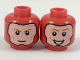 Part No: 3626cpb2045  Name: Minifig, Head Dual Sided Balaclava with Light Flesh Face, Dark Orange Eyebrows, Grin / Broad Smile with Teeth Pattern