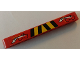 Part No: 40490pb037  Name: Technic, Liftarm 1 x 9 Thick with Arm Movement and Black and Yellow Danger Stripes Pattern (Sticker) - Set 8283